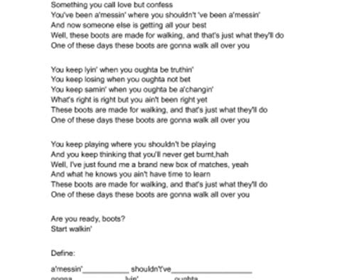 Song Worksheet: These Boots Were Made for Walking